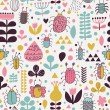 Stylish seamless pattern with bright bees and cute flowers — Stock Vector
