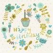 Bright floral Happy Birthday card in vector. — Stock Vector #44305121