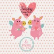 Funny cartoon piglets on romantic Valentines day — Stock Vector #44305313