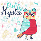Owl the hipster in childish style. — Stock Vector