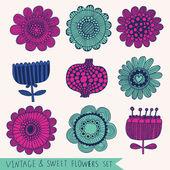 Bright vintage floral set in vector. — Stock Vector