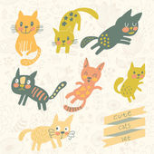 Seven funny kittens in cartoon style. — Stock Vector