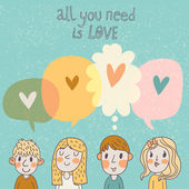 Two boys and two girls are thinking about love. — Stock Vector