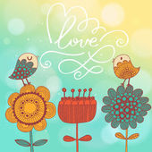 Bright romantic card with birds and flowers — Stock Vector