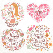 Cards with mother and child, flower wreath, hearts. — Stock Vector