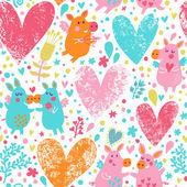 面白い豚、花、心とロマンチックな背景 — ストックベクタ