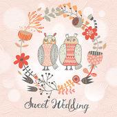 Sweet wedding card in vector. — Stock Vector