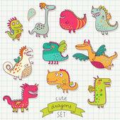 Funny cartoon dragon set in vector. — Stock Vector