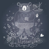 Funny hipster bear in flowers on chalkboard background — Stock Vector