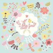 Eu te amo - bonito cartão brilhante em vetor — Vetor de Stock