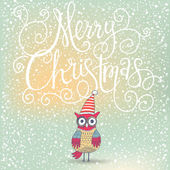Fantastic Merry Christmas card with cute Owl — ストックベクタ