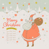 Merry Christmas card in vintage style. — Stock Vector