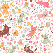 Bright childish seamless pattern with birds, cats and funny dogs — Stock Vector