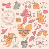 Valentines Day cartoon vector set in romantic colors. — Vecteur