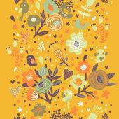яркие цветочные бесшовные в оранжевых тонах. — Cтоковый вектор