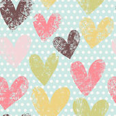 Bright romantic seamless pattern made of colorful hearts — Vector de stock