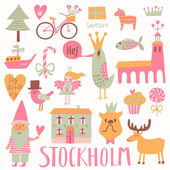 Stockholm concept set in vector. — Stock Vector