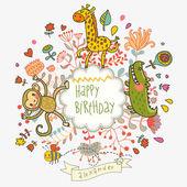 ładny dziecinny karta z krokodyla, małpa i żyrafa — Wektor stockowy