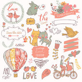 Valentines Day stylish vector set in romantic colors. — Stockvector