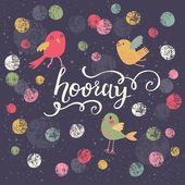 Colorful stylish card with polka dot, birds — Stock Vector