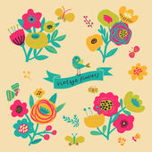 Bright floral elements in vector. — Stock Vector