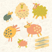 6 funny sheep in cartoon style in vector. — Stock Vector