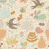 Cute seamless pattern with birds swallows, rabbits, bees — Stock Vector