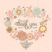 спасибо! яркий мультфильм карты, сделанные из цветов. — Cтоковый вектор