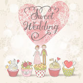 Sweet Wedding - concept romantic card in vector. — Stock Vector