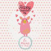 Gentle funny piglet angel in cartoon style. — Stock Vector