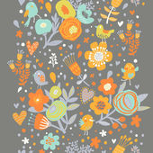 Heldere naadloze bloemmotief in oranje kleuren. — Stockvector