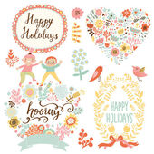 Holiday romantic collection with labels, ribbons, hearts — Stock Vector