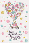 You make me happy stylish romantic card — Stock Vector