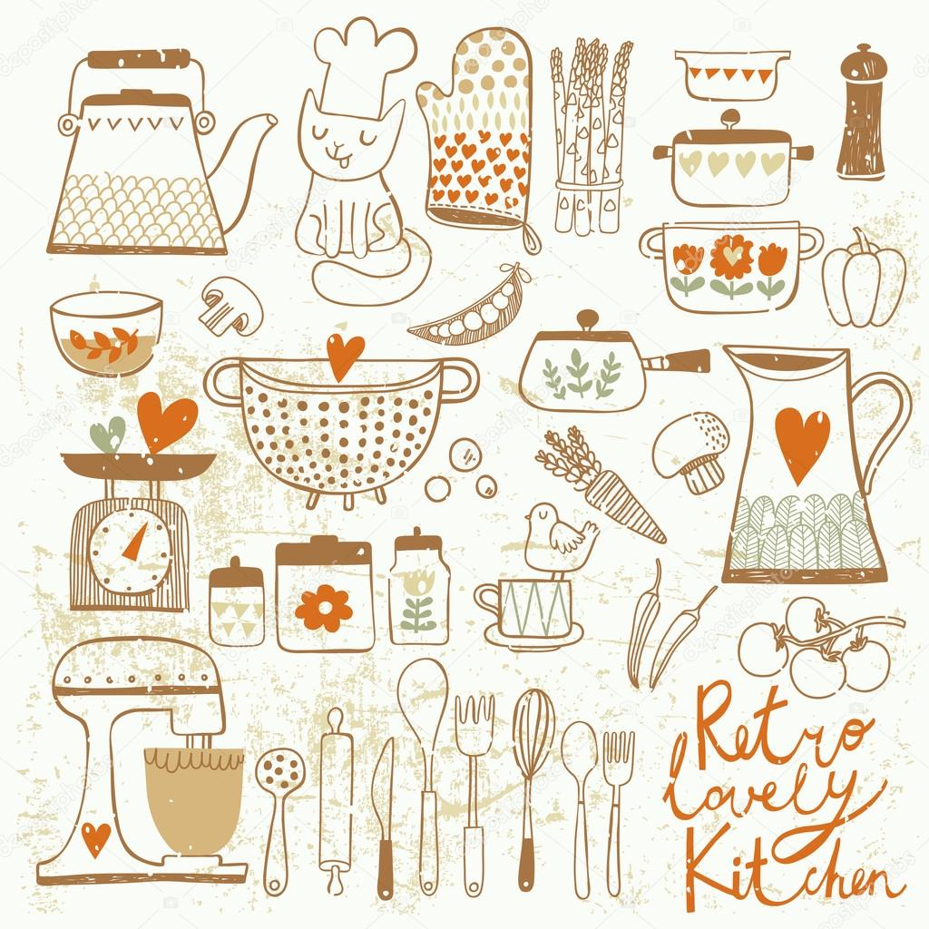 Kitchen Set Drawing For Kids : Vintage kitchen set in vector. — Vector de stock © smilewithjul ...
