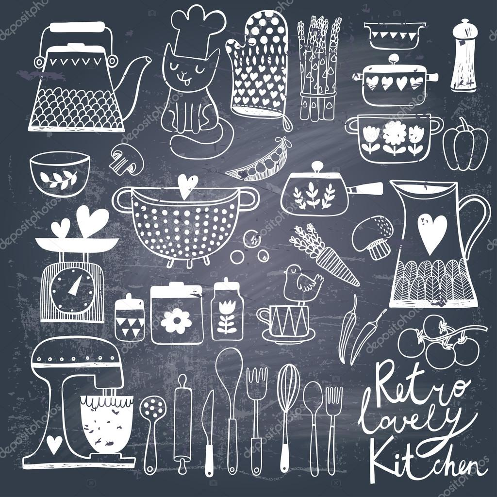 Vintage kitchen set in vector on chalkboard background - Pizarra cocina ...