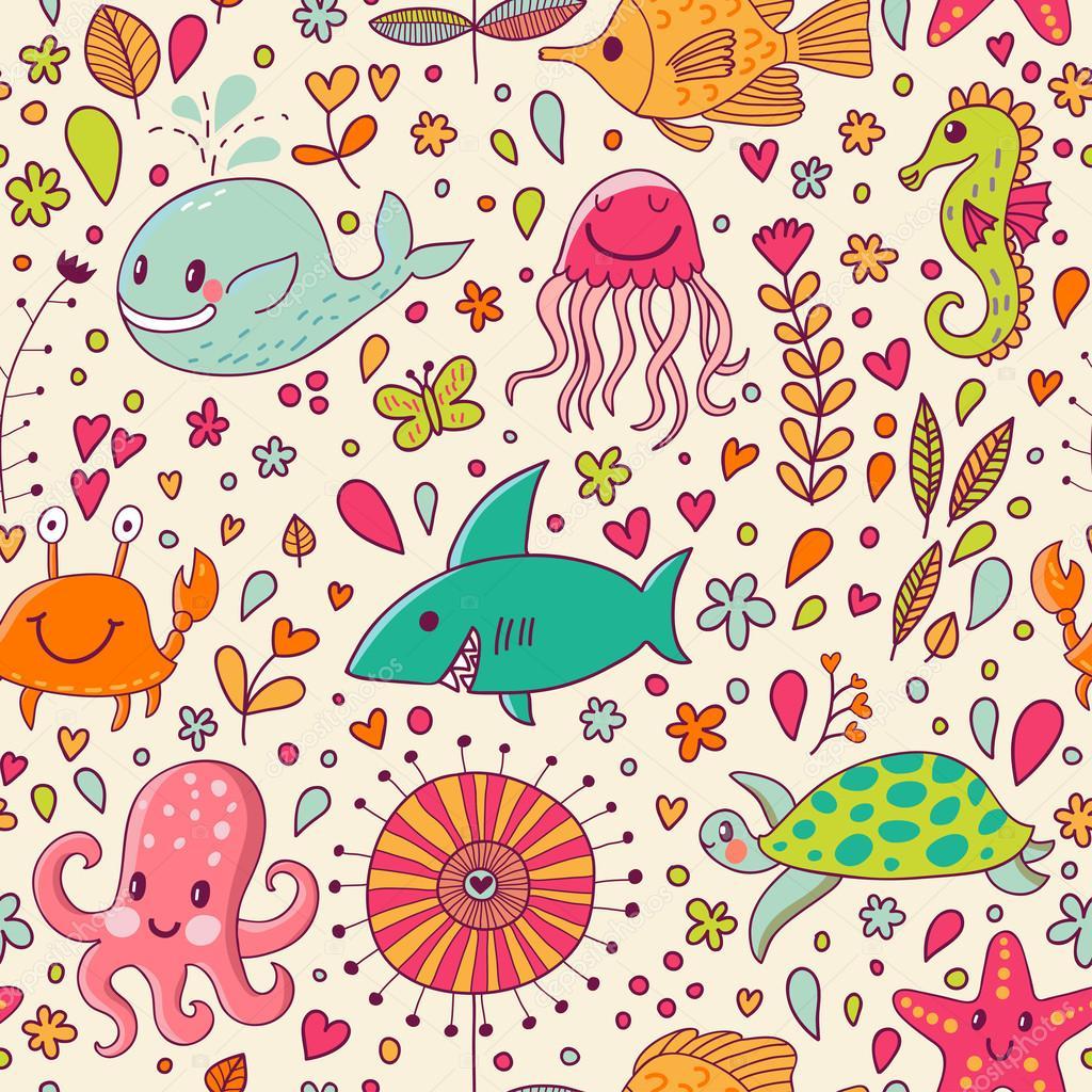 Priorit bassa di concetto subacqueo del fumetto for Sfondo animato pesci