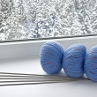 Blue skeins are on the windowsill — Stock Photo