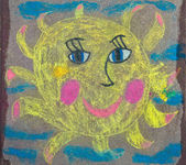 Drawing of the sun is on the pavement — Zdjęcie stockowe