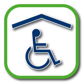 Wheelchair accessible home icon — Stock Vector