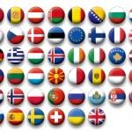 Vector Set of buttons flags of Europe — Vector de stock
