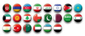 Vector Set of buttons flags of Middle East — Stock Vector