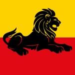 Illustration of a heraldic rampant lion — Stock Vector #46112981