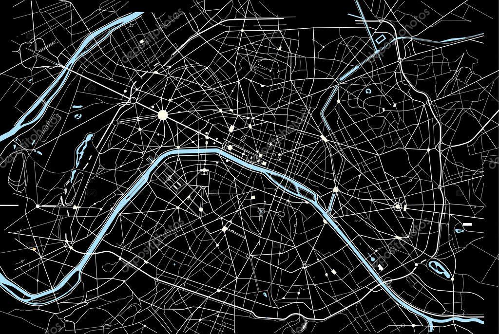 矢量图的黑色和白色的巴黎地图