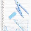 School supply set isolated on notebook — ストック写真