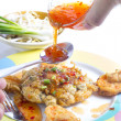 Fried Calamari  breaded served with  sauce  — Stock Photo