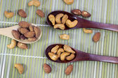 Almond and cashew spoon to delicious — Stock Photo