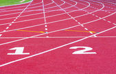 Start track. line on a red running track — Foto Stock