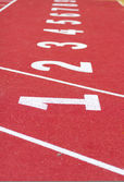 Start track. line on a red running track — Photo