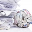 Stock Photo: Piled up office work papers
