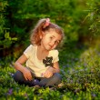 Happy child playing in a spring garden — Stock Photo #25455105